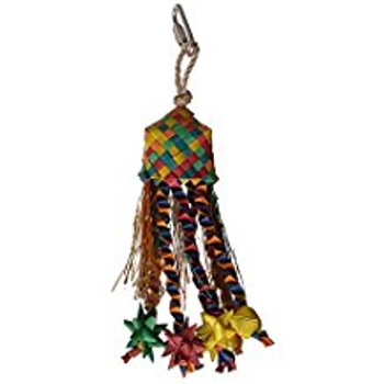 Enrich Your Bird's Playtime With Hari Rustic Treasures Star Basket. Hand Crafted With Natural Abaca And Palm Leaves, This Colorful Toy  Encourages Your Pet Parrot To Preen So You Don't Have To Worry About Feather Plucking. Stuff With Yummy Treats Or Food