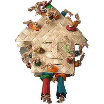 Enrich Your Bird's Playtime With Hari Rustic Treasures Foraging House. Hand Crafted With Natural Abaca, Palm Leaves And Bamboo, This Stimulating Toy Relieves Boredom So Your Pet Parrot Remains Entertained For Hours. Stuff With Yummy Treats Or Food And Wat