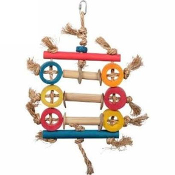Give Your Pet Parrot The Exercise He Needs With The Hari Rustic Treasures Bamboo Ring Abacus. Hand Crafted With Natural Abaca, Bamboo, Coconut Shell And Corn Cob, This Colorful Toy  Encourages Your Pet Parrot To Climb, Perch And Play For Hours, While Cond