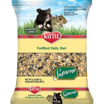 Kaytee Supreme Hamster and Gerbil food is a wholesome, high-quality mix that contains all of the natural protein, fiber, oils and nutrients of whole grains. Fortified to ensure a balance blend, Supreme utilizes natural seeds, grains and pellets to provide your small pet with a simple yet healthy diet. Kaytee Supreme offers high quality ingredients small animals love and the nutrition they require
