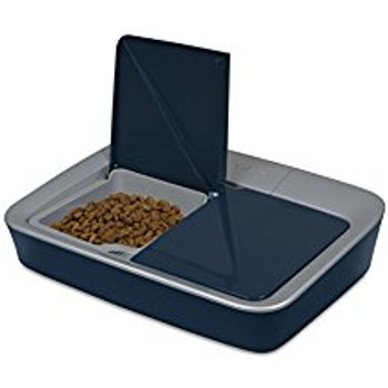 The PetSafe Digital 2-Meal Feeder is an easy-to-use, reliable, automatic feeder that pet parents can trust to deliver meals on time, every day. Designed to prevent curious pets from breaking in, the Digital 2-Meal Feeder helps control portions and prevent overeating. It is battery operated with a sleek, compact design that will fit anywhere in the home. The Digital 2-Meal Feeder helps establish healthy eating routines and gives pet parents peace of mind that their pet has been fed whether they are at home or away.