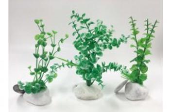 Penn-Plax Rock Plant Ornament Green 8in