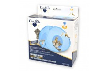 OurPets Pounce House Electronic Spin Cat Toy in a tent