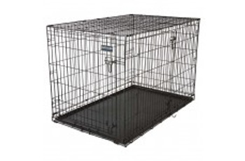 With the Precision Pet Care 2-Door Dog Crate, you can give them a space of their own that #;s comfortable   safe. This crate comes in your choice of size to suit dogs small to large   everything in between. It #;s made of durable wire with rounded e