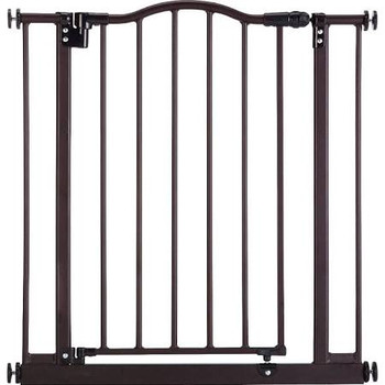 Keep your pets out of trouble with the handsome North States Windsor Arch pet gate. Made with durable steel for lasting strength, this pressure-mounted gate closes firmly wit one push, locks with a triple lock system, and swings open either way for your convenience. This matte bronze gate is even JMPA certified for use with children 6 to 24 months of age, making this gate a great home option for keeping all your little loved ones safe.