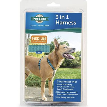 The PetSafe 3in1 Harness is the perfect all-inclusive harness, designed for maximum comfort, adjustability and safety. The 3in1 Harness is a versatile harness that is great for everyday use. The harness can be used as a standard harness and can easily transition to a no-pull solution. It also features a car safety restraint options to limit your dog's movement in the car, creating a safer driving environment for the driver, passengers and pet.