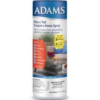Adams Flea   Tick Home   Carpet Spray kills fleas, flea eggs, flea larvae, ticks, ants, spiders, roaches, mosquitoes and bed bugs. It protects the household from a buildup of fleas for up to 210 days and covers 2750 square feet