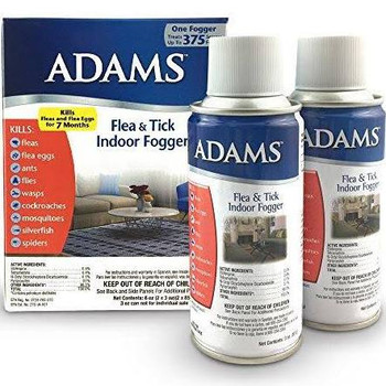 The Adams Flea and Tick Indoor Fogger kills fleas, mosquitoes, silverfish, spiders, ants, cockroaches, flies and many other insects.
