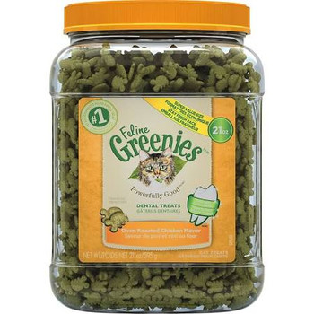Oral health issues are the most common health problems diagnosed in adult pets. FELINE GREENIES Dental Treats offer complete nutrition and help your cat maintain good dental care. They have a unique shape and crunchy texture that #;s proven to reduce t