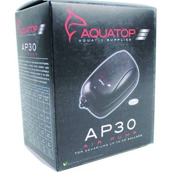 AQUATOP #;s AP Series of aquarium of air pumps gives aquatic creatures the oxygen they need to thrive. Available in different sizes, the AP-30 handles tanks up to 40 gallons. This economical but sturdy pump adds air bubbles, creates current, and agitat