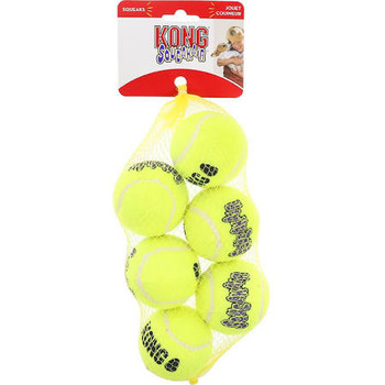 The KONG Squeakair Ball combines two classic dog toys - the tennis ball and the squeaker toy - to create the perfect fetch toy. Our durable, high-quality Squeakair tennis ball will not wear down your dog #;s teeth. It #;s made with a special non-abr