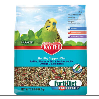 Kaytee Forti-Diet Pro Health Parakeet food was developed by an avian nutritional expert to ensure your pet gets the proper nutrition. Forti Diet Pro Health contains probiotics and prebiotics to support digestive health. This food is rich in natural antioxidants for general health and immune support plus contains pieces to support skin and feather health. Kaytee understands that sharing your life with a small pet is not only enjoyable but very enriching. Kaytee shows our love by ensuring we provide your small pet with the best nutrition for a long and healthy life. With over 150 years of nutritional experience, it's no wonder why Kaytee is at the heart of every healthy feeding routine.