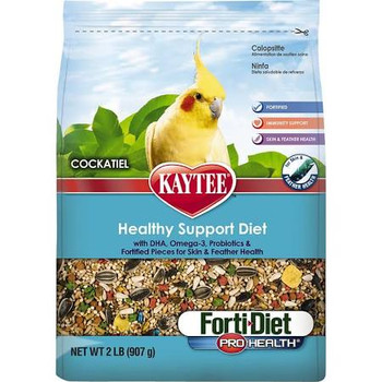 Kaytee Forti-Diet Pro Health Cockatiel food was developed by an avian nutritional expert to ensure your pet gets the proper nutrition. contains probiotics and prebiotics to support digestive health. This food is rich in natural antioxidants for general health and immune support plus contains pieces to support skin and feather health. With over 150 years of nutritional experience, it's no wonder why Kaytee is at the heart of every healthy feeding routine.