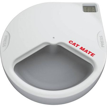 Cat Mate C300 Automatic (3 Meal) Pet Feeder w/ Digital Timer -Serves up to 3 meals at your pet #;s normal meal times. ;Twin ice packs helps keep food fresh; Suitable for cats and small dogs; Battery operated ; 3 Year Guarantee
