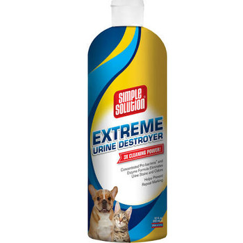 Extreme Urine destroyer is specially formulated to break down urine proteins hidden in your carpet. Get the urine stain out and removes the urine smell instead of just masking it. Safe to use on carpets, upholstery, hard surfaces, cement and all other water-safe surfaces. Safe for use around pets and children when used as directed.