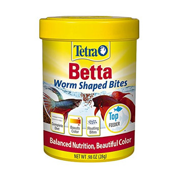 Tetra Betta Worm Shaped Bites provide a complete, bite-sized diet for Bettas. The bites mimic the swimming behavior of bloodworms as they float on the water #;s surface, for acceptance by Bettas that favor live prey. Added cartenoids and shrimp work to