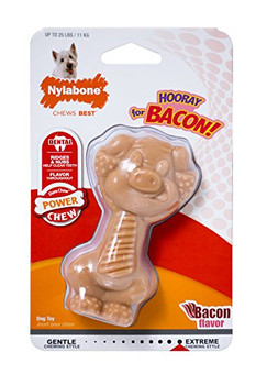 Bring on the bacon! This playful piggy was made for powerful chewers who want some extra excitement in their chewing session. It #;s a durable (and adorable) dog chew packed with the bacon flavor dogs love. In addition to keeping your dog busy, all the