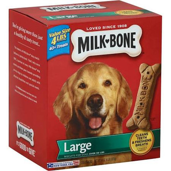 """4 lbs. 40+ treats.  Biscuits for dogs over 50 lbs.  Cleans teeth &amp freshens breath. 12 vitamins &amp minerals.  You're giving more than just a healthy &amp tasty treat.  The makers of Milk-Bone dog snacks believe in giving back.  That's why since"""""""