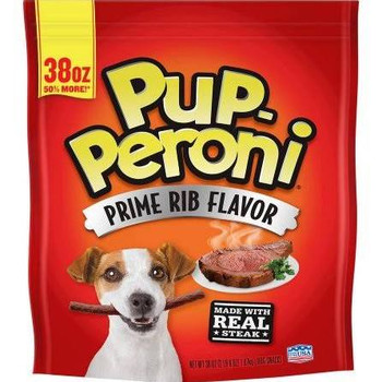 Pup-Peroni Prime Rib Flavor Dog Treats, 38-oz bag If you can t take your best friend to the steakhouse, bring the steakhouse home to her with Pup-Peroni Prime Rib Flavor Dog Treats.  You can t fool your dog when it comes to meat, and there s no mista""