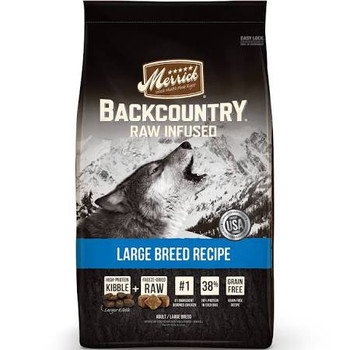 """Backcountry Raw Infused Large Breed Recipe caters to the nutritional needs and appetites of large breed dogs, featuring large-sized kibble to match their bigger bite size.  This high-protein kibble starts with real deboned chicken includes novel prot"""""""