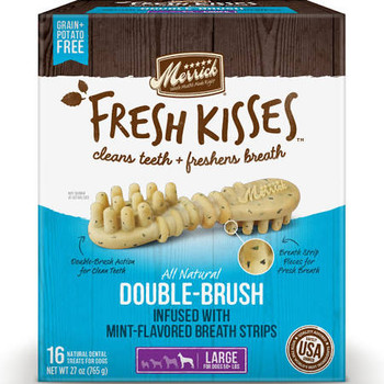 """Effortlessly take care of your pet's dental hygiene with these Merrick Fresh Kisses Mint Breath Strips Small Brush Dental Dog Treats.  Shaped in a unique double-brush design, these natural treats dislodge plaque and tartar build-up.  They include min"""""""