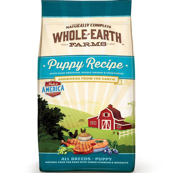 """Whole Earth Farms kibble recipes are cooked in the USA with high quality, natural ingredients that deliver complete and balanced nutrition.  Natural ingredients help support easier digestibility, less shedding, shinier coat, increased energy, stronge"""""""