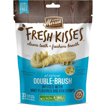 """Merrick's Fresh Kisses Dental Treats are specifically designed for your extra small sized dog weighing 5-15 pounds.  You'll both love that these Double-Brush treats are infused with mint-flavored breath strips for an extra fresh scent!  Not only do t"""""""