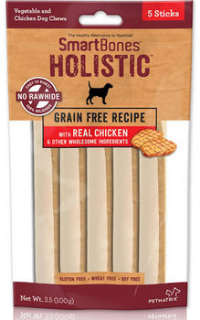 """Smartbones Sticks Holistic Grain Free Recipe Chicken Chews for dogs are fortified with vitamins and minerals and helps maintain healthy teeth and gums. 100% rawhide-free. 99% digestible.  Grain free recipe with real chicken and 6 other wholesome ingr"""""""
