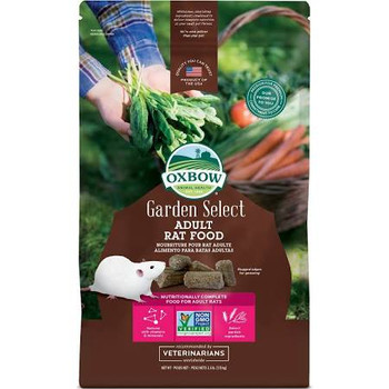 """Complete, balanced, and bursting with garden fresh flavor.  Garden Select Adult Rat contains all of the complete nutrition you've come to expect from Oxbow, with a flavor profile hand-picked from Mother Nature's kitchen.  Select garden ingredients su"""""""