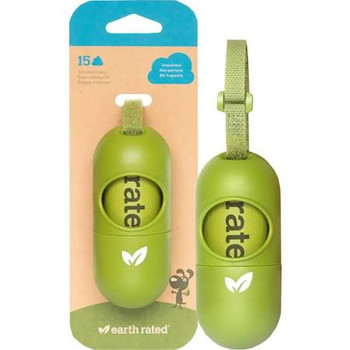 """Earth Rated Unscented Poop Bag Dispenser This greencolored dispenser is the cutest on the market.  A convenient holder for the Earth Ratedreg refill rolls, it also includes 15 unscented bags.  This dispenser fits all standardsized rolls and has an ad"""""""