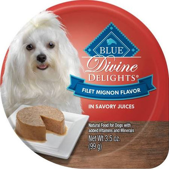 """Natural food for dogs with added vitamins and minerals.  Nutrition Statement: Blue Divine Delights Filet Mignon Flavor in Savory Juices is formulated to meet the nutritional levels established by the AAFCO Dog Food Nutrient Profiles for maintenance."""""""