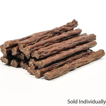 """Shaped like Bully Sticks, but made with ground beef and all natural ingredients.  Soft and chewy. Ingredients: Beef, Rice Flour, Sodium Lactate, Salt, Garlic, Cultured Dextrose, Citric Acid, Natural Mixed Tocopherols (a natural preservative), Vegetab"""""""