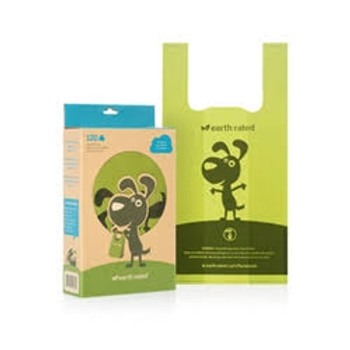 Earth Rated PoopBags Handle Bags, 120 handle bags, unscented Earth Rated easy-tie handle bags are packaged in a box made from recycled materials that acts as the perfect dispenser.  These bags have convenient handles for quick tying and disposal.  Th""