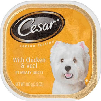 With delicate, tender meat in a rich sauce, CESAR reg; With Chicken   Veal in Meaty Juices is the perfect way to show your love at mealtime. For a real culinary experience, give your pampered pet CESAR reg; Chicken   Liver Recipe Classic Loaf in sauce. Th