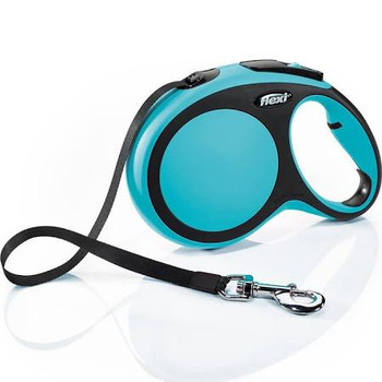 Perfectly designed two-color 26 ft. tape leash for dogs up to 110 lbs. with color-coordinated brake button. Ergonomic grip through the adjustable handle. Reliable handling thanks to the efficient short-stop one-handed braking system. Can be customized with the flexi LED Lighting System and/or the flexi Multi Box for treats or standard poop-bag rolls. Made in Germany