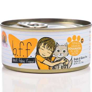 """Tuna and Salmon Soulmates is a luxurious, natural cat meal featuring tuna and salmon in aspic.  Each meal is prepared with practices common in human food products, including only the top quality meat parts.  The fish in this meal are human grade and"""""""