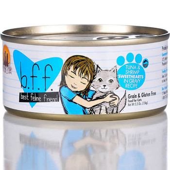 """Best Feline Friend Tuna &amp Shrimp Sweethearts Recipe in Gravy Canned Cat Food is made with food fit for human consumption and processed in a human grade facility.  BFF formulas have superb palatability which is attributable to the high quality of t"""""""