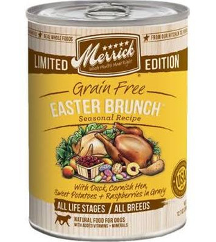 Made with the highest quality and human grade ingredients bMerrick Seasonals Easter Brunchb blends savory ingredients like duck fresh sweet potato cornish hen chicken liver and raspberries to create a taste dogs love.  Finding an all natural and bala""