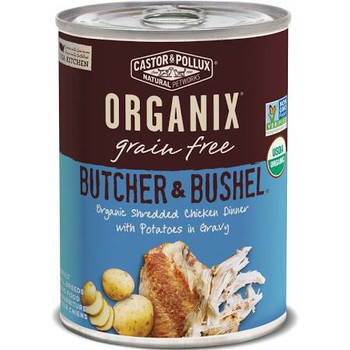 """ORGANIX Butcher &amp Bushel Organic Shredded Chicken Dinner with Fresh-Cut Potatoes Giving dogs healthy, tasty food has never been easier with our new Butcher &amp Bushel recipes.  Product features: Large, satisfying chunks of real organic proteins a"""""""