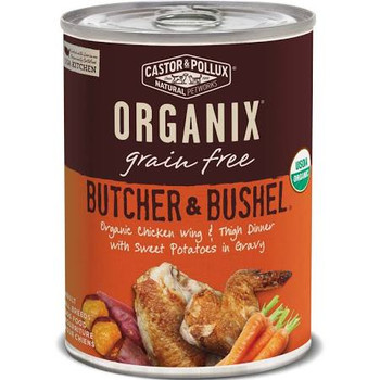"""Organix Butcher and Bushel Organic Chicken Wing and Thigh Dinner with Fresh-Harvest Sweet Potatoes Canned Dog Food Giving dogs healthy, tasty food has never been easier with our new Butcher &amp Bushel recipes.  Product Features: Large, satisfying ch"""""""