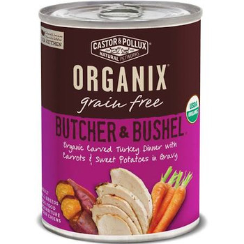 """Organix Butcher and Bushel Organic Carved Turkey Dinner with Fresh Carrots and Sweet Potato Canned Dog Food Giving dogs healthy, tasty food has never been easier with our new Butcher &amp Bushel recipes.  Product Features: Large, satisfying chunks of"""""""