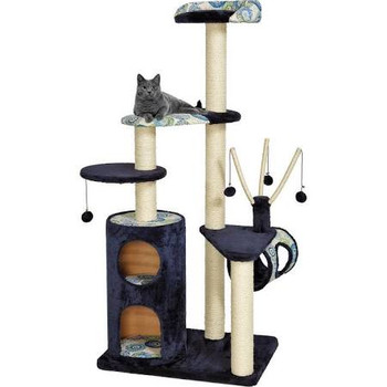 """Multi-tiered cat tree.  Blue plush synthetic fur and matching print.  Two-level cubby retreat.  Flexible arms dangle toy balls above lounge lookout.  High-rise bolstered perch.  Several resting benches.  Sisal-wrapped supports.  For multiple cats, th"""""""