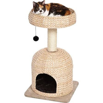 """Midwest Feline Nuvo Fine (&amp Fun) The Scout Feline Furniture Feline Nuvo's Scout has a spacious dome cubby with a faux fur pillow, comfy basket bed on top, and sisal-wrapped supports.  Material/Finish: Carpet, Sisal, Board"""""""