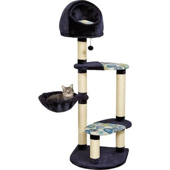"""Blue plush synthetic fur and matching print.  High-rise hooded bedSeveral resting platforms.  Sisal-wrapped supports.  Your cats do their best to be loving companions to you, show them you care just as much with the Feline Nuvo Resort Cat Tree with H"""""""