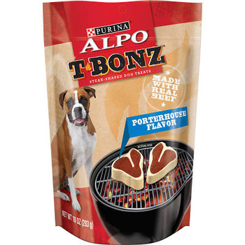 T-Bonz dog snacks: Because dogs love the taste of steak.""