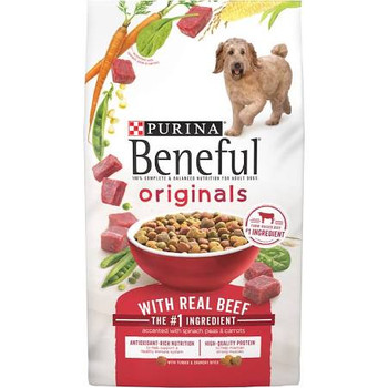 """Make mealtime for your dog as tasty as it is nutritious with Purina Beneful Originals With Real Beef adult dry dog food. With real farm-raised beef as the first ingredient, these meaty bites deliver high-quality protein to support his strong muscles."""""""