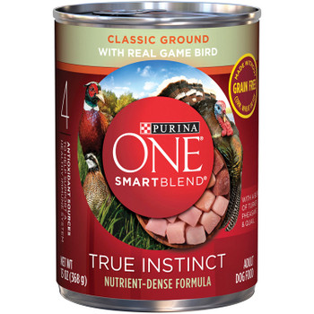 Purina One Smartblend True Instinct Classic Ground With Real Game Bird. Purina One emphasizes real meat, fish or poultry and targeted nutrition formulas. Our formulas give pets the taste they love and the protein they need. Targeted nutrition formulas are optimized for your pet?s lifestyle, providing balanced nutrition for each life stage. From complete & balanced dog food for all life stages to treats that help you create special moments with your dog, we've got great options for you.