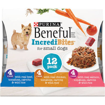 """Healthy food with Big Flavor, in just his size. Beneful IncrediBites has real ingredients you know and he loves, chopped into small bites. Give your little dog the big flavor he craves! Contains 4-3 oz. (85 g) Cans with Beef 4-3 oz. (85 g) Cans with"""""""