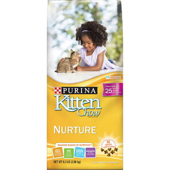 """Purina Kitten Chow Nurture is an age-essential, dry kitten food made with the four foundational Building Blocks of Nutrition: high in protein for developing lean muscle DHA for brain and vision development essential nutrients like those found in moth"""""""