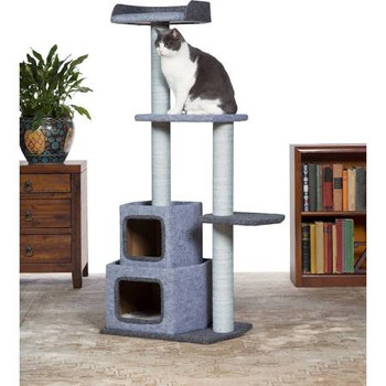 Prevue Pet Products Kitty Power Paws Sky Tower 7308 combines soft, felt fabrics with durable jute to provide the perfect place for lounging, sleeping, scratching, hiding and playing.  In luxurious tones of blue and blue gray, the Sky Tower cat tree features a padded day bed with a ƒ??Uƒ?? shaped back, making your cat or kitten feel more secure and less vulnerable to sneak attacks. Four individual, durable, jute rope scratching posts offer an appealing texture to cats, curbing inappropriate scratching behaviors and saving your sofa.  In addition to the cat bed, two platforms provide opportunities for pouncing and jumping or multiple levels for more than one cat to lounge comfortably. Two covered hideaways provide plush lined shelter for your cat or kitten to feel more secure and avoid social stress. Expertly designed cat furniture with clean lines in a modern design assembles easily and satisfies the needs of cats of all ages, sizes and activity levels.  At 4 1/2 foot tall, this cat tree utilizes vertical space and a compact footprint to save space in your home while offering your kitty plenty of options to play, sleep, hide and lounge. Measures 30 5/8'' Long, 15 1/2'' Wide and 54'' High.